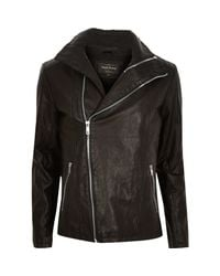 River Island - Black Leather-look Biker Jacket for Men - Lyst