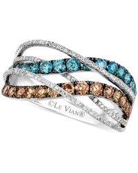 Le Vian | Chocolate And Ice Blue Diamond Swirl Ring In 14K White Gold (1-1/3 Ct. T.W.) | Lyst