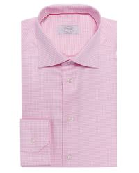 Eton of Sweden - Pink Contemporary Fit Micro Gingham Shirt for Men - Lyst
