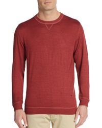 Isaia | Red Wool Crewneck Sweater for Men | Lyst