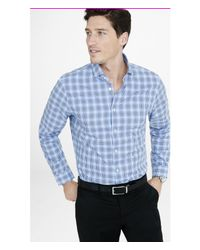 Express | Blue Modern Fit Optical Plaid Dress Shirt for Men | Lyst