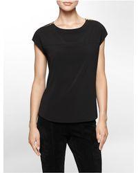 Calvin Klein - Black White Label Zip Detail Cap Sleeve Top - Lyst