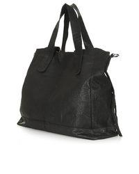 TOPSHOP - Black Slouchy Leather Shoulder Bag - Lyst
