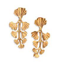 Oscar de la Renta | Metallic Ginko Leaf Clip-on Drop Earrings | Lyst