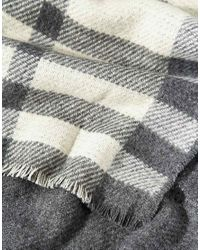ASOS - Gray Oversized Reversible Check Scarf - Lyst