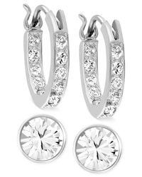 Swarovski | Metallic Rhodium-plated Crystal Hoop And Round Stud Earring Set | Lyst