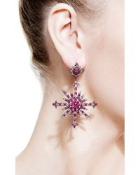 Bochic | Purple Ruby and Diamond Snowburst Earrings | Lyst