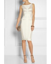Hervé Léger - White Bandage and Mesh Dress - Lyst