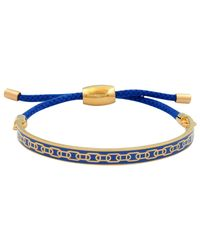 Halcyon Days - Blue 18ct Gold Plated Friendship Skinny Chain Bracelet - Lyst
