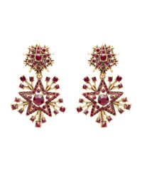 Oscar de la Renta | Red Claret Swarovski Crystal Pavé Star Drop Earrings | Lyst