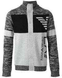 Emporio Armani | Gray Patterned Logo Cardigan for Men | Lyst