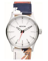 Nixon - Metallic 'Sentry' Print Leather Strap Watch - Lyst