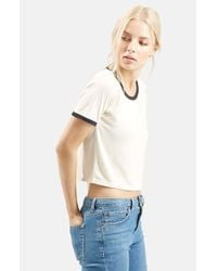 TOPSHOP - White Contrast Tee - Lyst