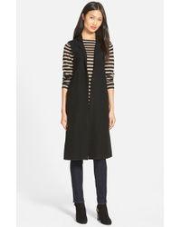 Eileen Fisher - Black Notch Collar Long Merino Wool Vest - Lyst