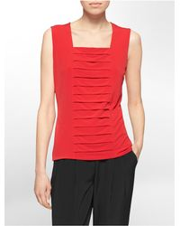 Calvin Klein | White Label Center Tiered Pleated Sleeveless Top | Lyst