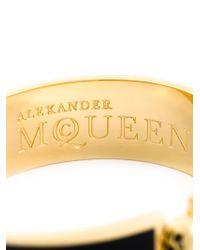 Alexander McQueen | Black Enamel Skull Bracelet | Lyst