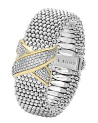 Lagos | Metallic Silver Caviar Bracelet With Diamond X | Lyst