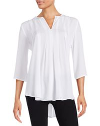 Karen Kane | Natural Pleated Blouse | Lyst
