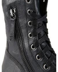 DIESEL - Black D-Komtop Leather Combat Boots for Men - Lyst