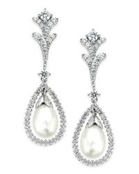 Arabella | Metallic Bridal Cultured Freshwater Pearl (7mm) And Swarovski Zirconia (2 Ct. T.w.) Drop Earrings In Sterling Silver | Lyst