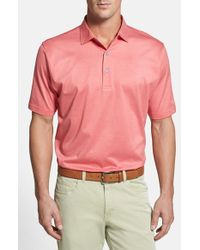 Peter Millar - Pink 'sumter Stripe' Regular Fit Egyptian Cotton Lisle Polo for Men - Lyst