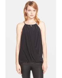 Trina Turk | Black 'bria' High Neck Silk Top | Lyst