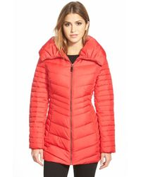 Marc New York | Red 'Kirby' Chevron Quilted Pillow Collar Down & Feather Fill Coat | Lyst