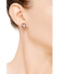 Amedeo - Natural Hand Carved Sardonyx Shell Cameo Earrings Set in Roseplated Silver with Brown Diamonds - Lyst