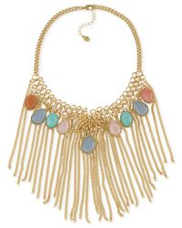 Carolee | Multicolor Gold-tone Bead And Tassel Statement Necklace | Lyst