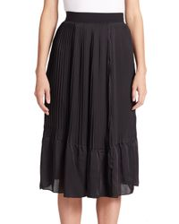 TOME | Black Pleated Satin Skirt | Lyst