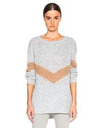 Pam & Gela - Gray Slouchy Chevron Sweater - Lyst