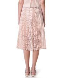 Tibi - Pink Windowpane Jacquard Sunray Pleated Skirt - Lyst