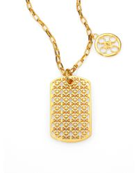Tory Burch - Metallic Kinsley Logo Dogtag Necklace - Lyst