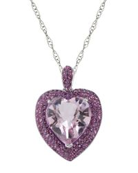 Lord & Taylor | Pink Sterling Silver And Crystal Heart Pendant Necklace | Lyst