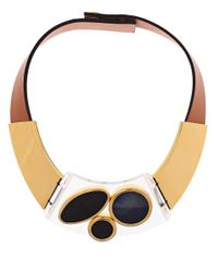 Marni | Brown Tan Plexi Circle Leather Bib Necklace | Lyst