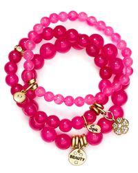 Sequin - Pink Beauty Flower Bracelets, Set Of 3 - Lyst