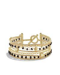 David Yurman - Starburst Chain Bracelet With Black Spinel Beads In Gold - Lyst