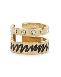 MFP MariaFrancescaPepe - Metallic 23Kt Gold Plated Swarovski Ring - Lyst