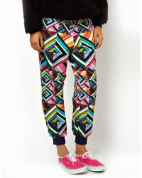 House of Holland | Black Sweatpants in Patchwork Print | Lyst