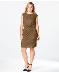 Spense | Brown Plus Size Zip-front Faux-suede Dress | Lyst