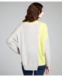 Qi - Gray Heather Grey and Neon Lime Cashmere Natasha Asymmetrical Sweater - Lyst