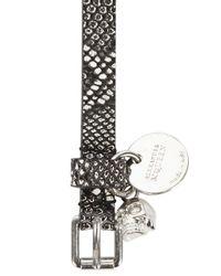 Alexander McQueen - Multicolor Snake Effect Skull Embellished Leather Wrap Bracelet for Men - Lyst