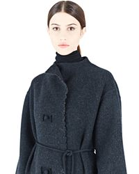 Lanvin | Blue Long Felted Wool Coat | Lyst
