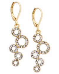 T Tahari | Metallic Gold-tone Pavé Squiggle Circle Drop Earrings | Lyst