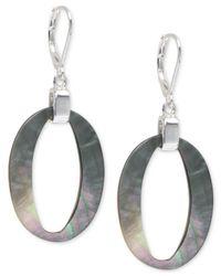 Anne Klein | Metallic Mother Of Pearl Oval Drop Earrings | Lyst