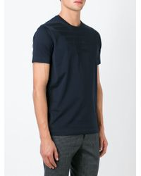 Emporio Armani - Blue Logo-Peint Cotton T-Shirt for Men - Lyst