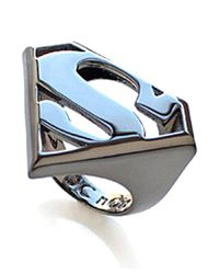 Noir Jewelry | Metallic Superman Dc Comics Logo Statement Ring | Lyst