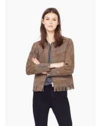 Mango | Gray Fringed Suede Jacket | Lyst