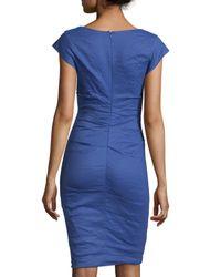 Nicole Miller - Blue Faux-Wrap Cotton-Blend Dress - Lyst