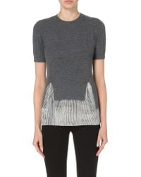 JOSEPH - Gray Cut-out Wool And Silk Top - Lyst